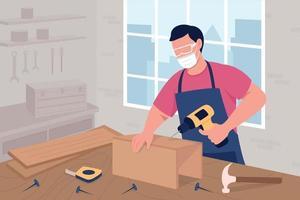 Carpintero masculino en el trabajo ilustración de vector de color plano