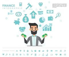 finance info graphic with icons vector design
