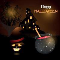 Halloween mystery graveyard background with pumpkin design vector