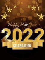 efecto de texto dorado brillante de 2022 con fondo creativo vector