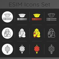 Chinese culture dark theme icons set vector