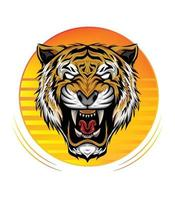 Sunset illustration with angry tiger head logo. design template for clothing, t shirt, apparel vector