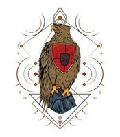 Eagle artwork with sacred geometry vector