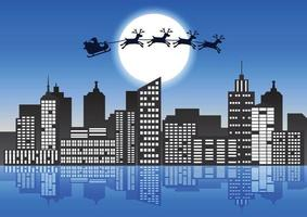 Santa Claus and reindeer fly over city vector
