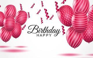 Tarjeta de felicitación de feliz cumpleaños globos de aire rosa rayado y confeti cayendo sobre fondo blanco. vector