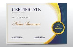 elegante plantilla de certificado moderno vector