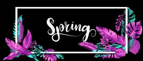 Vector leaves Chrome color blue and pink frame Design banner Spring background. Vector illustration template.