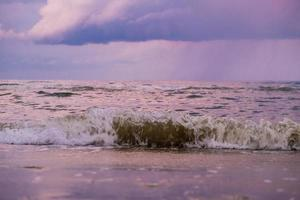 Blue hour on a stormy day at McKenzie beach, Larnaca, Cyprus photo