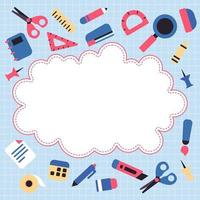 Stationary School Supplies Background vector