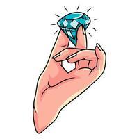 Diamond in hand, precious stone in hand. Stone analysis. Cartoon style. vector
