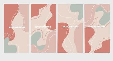 Vector set of abstract creative backgrounds in minimal trendy style with copy space for text