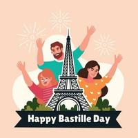 Happy Bastille Day in Flat Style vector