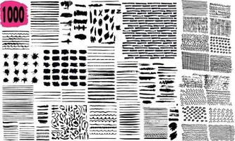 Big set of black paint and grunge brush strokes vector