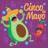 dibujos animados de aguacate mexicano y ají cinco de mayo vector