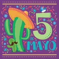 cactus con un sombrero mexicano tradicional cinco de mayo vector