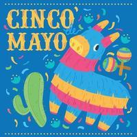 cartel de cinco de mayo de piñata mexicana de burro vector
