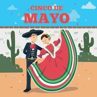 pareja mexicana bailando cartel del cinco de mayo vector
