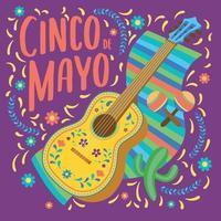 guitarra decorada con un poncho cartel del cinco de mayo vector