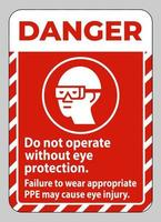 Danger Sign Do Not Operate Without Eye Protection Failure To Wear Appropriate PPE May Cause Eye Injury vector