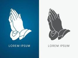 manos rezando, oración cristiana vector