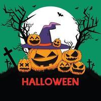 Happy Halloween cute pumpkins illustration vector
