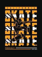 diseño de camiseta de skate de california estilo urbano vector