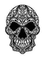 illustration skull head with ornament style vector