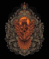 garuda indonesia engraving pattren ornament vector