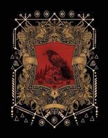Ilustración de grabado de cráneo de cuervo aterrador vector