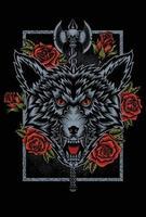 illustration wolf head rose flower design vector