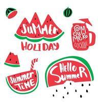 rebanada de sandía y texto de horario de verano. Cóctel de verano con letras, sandía lloviendo semillas. vector