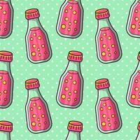 botella de jugo de ilustración de patrones sin fisuras vector