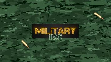 Animation text Military Day on military green background with patrons video