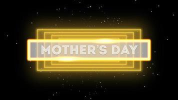 texto de animación del día de la madre sobre la moda y el fondo del club con líneas amarillas brillantes video