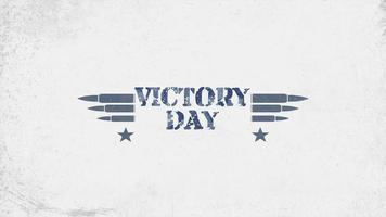 Animation text Victory Day on military grunge background with patrons and stars video