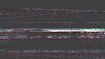 Digital glitch and static television noise effects on visual effect of VHS defects on artifacts and noise on retro background video