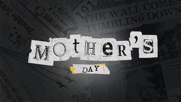 animação texto dia das mães em hipster preto e fundo grunge com jornal video