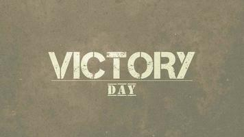 Animation text Victory Day on military green background video