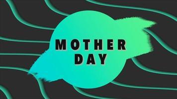 texte d'animation fête des mères sur fond de mode et de minimalisme noir avec des vagues géométriques vertes et rond video