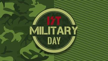 Animation text Military Day on green military background with aim video