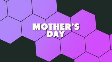 texte d'animation fête des mères sur fond noir mode et minimalisme avec hexagones géométriques violets video