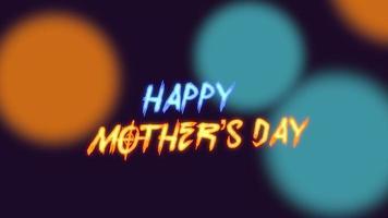 texto de animación feliz día de la madre sobre la moda y el fondo del club con puntos azules y naranjas brillantes video