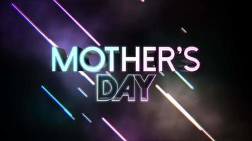 animación texto día de la madre y movimiento líneas de neón azul y púrpura sobre fondo abstracto video