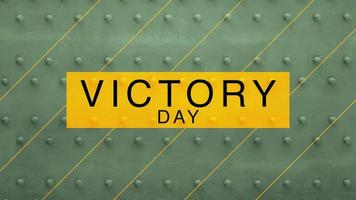 Animation text Victory Day on military green steel background video