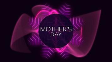Animación de texto del día de la madre sobre la moda y el fondo del club con líneas y ondas púrpuras brillantes video