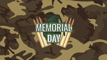 Animation text Memorial Day on military green background with patrons video