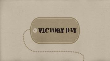 Animation text Victory Day on military background with military tag video