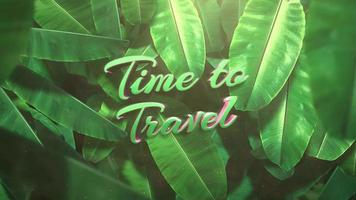 Animated text Time to Travel and  closeup tropical leaf of trees on summer background video