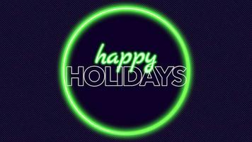 Animation text Happy Holidays and motion abstract geometric neon green circle on disco background video