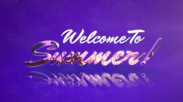 Animated text Welcome to Summer with mirror effect on summer sunset background video